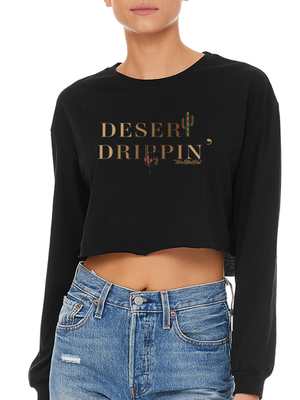 DESERT DRIPPIN LONG SLEEVE CROP BLACK