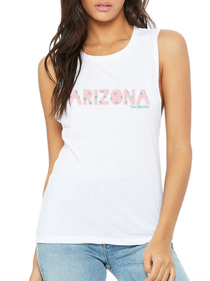 ARIZONA PALM TREE WHITE MUSCLE TANK
