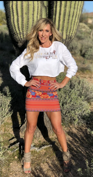 DESERT DRIPPIN LONG SLEEVE CROP WHITE