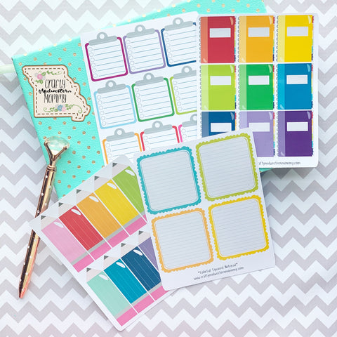 Colorful School Theme Planner Stickers
