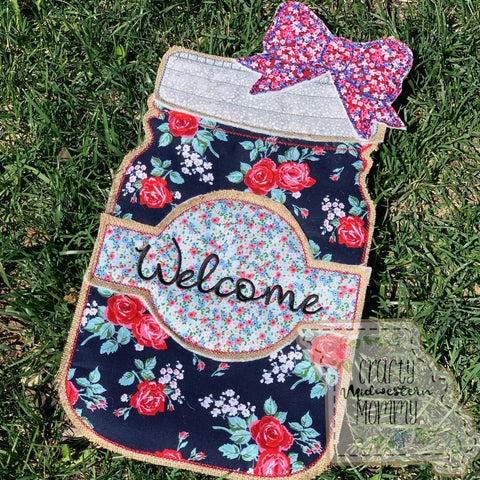 Welcome Mason Jar Door Hanger