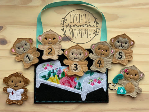 Five Little Monkey Finger Puppets, finger pupper set, busy bag