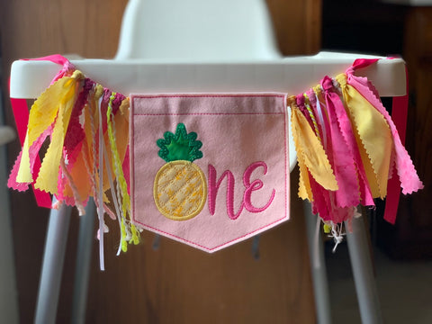 Pineapple High Chair Banner, Birthday Banner, Highchair Banner