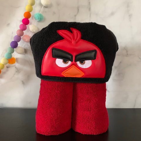 Red Mad Bird Hooded Towel