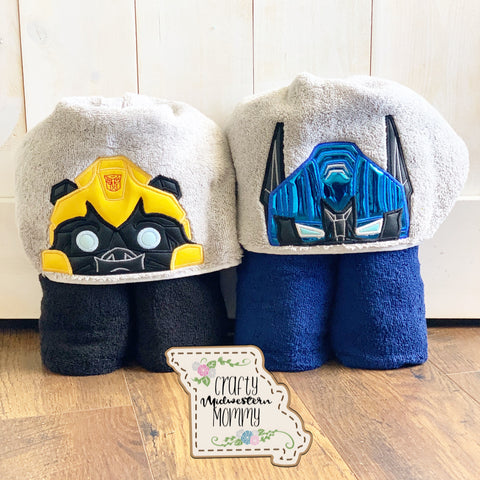 Blue and Yellow Robot Hooded Towel Duo (2 towels)
