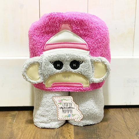 Sock Monkey Girl Hooded Towel
