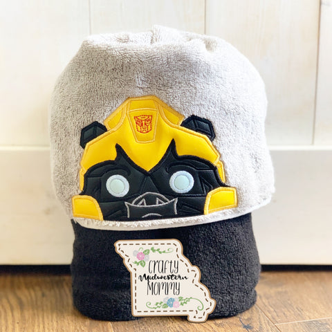 Yellow Robot Hooded Towel