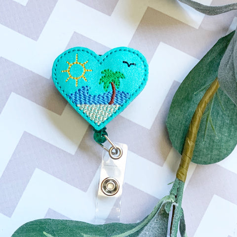 Beach Scene Heart Badge Reel