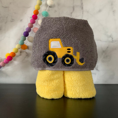 Construction Tractor Hooded Towel