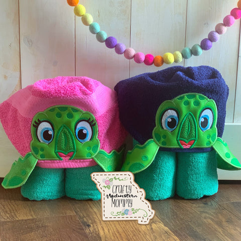 Sea Turtle Combo Hooded Towels (set of 2)