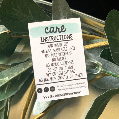Care Instruction Cards