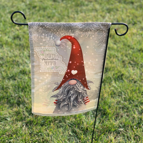 Heart Gnome Garden Flag