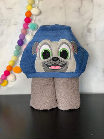 Grey Puppy Pal Friends Hooded Towel