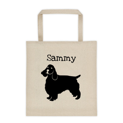 Cocker Spaniel Personalized Silhouette Tote Bag