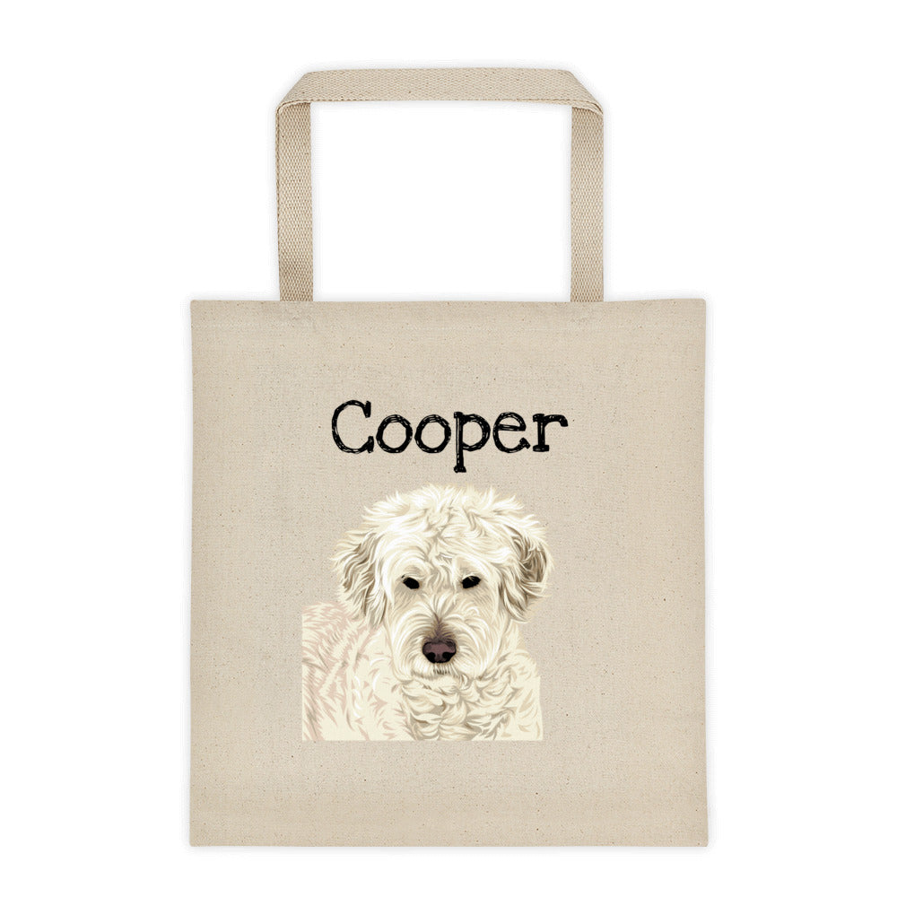 Custom Illustrated Dog Themed Tote Bag