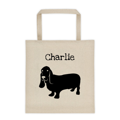 Basset Hound Personalized Silhouette Tote Bag