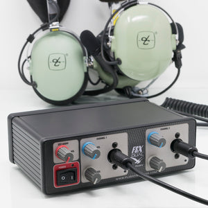 Flight Sounds Dual Military Headset USB Adapter. Use with multiple headsets.