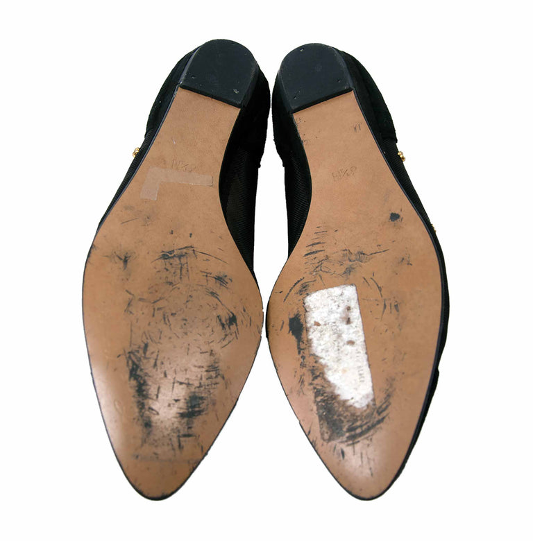 Vintage Suede Ballerina Flats with Mesh and Rhinestone Detail by Coup d'etat - Women 6 1/2M