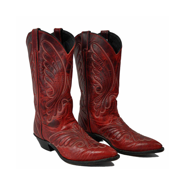 Vintage Blood Red Embroidered Leather Boots by Code West - Women's 7M
