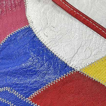 Bright and Bold Genuine Soft Leather Patchwork Shoulder bag by Serata - 80s