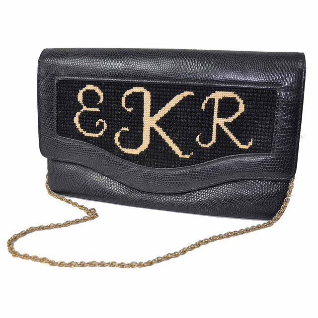 "Handmade ""EKR"" Monogrammed Leather Clutch with Rolled Gold Chain - 50's/60's"