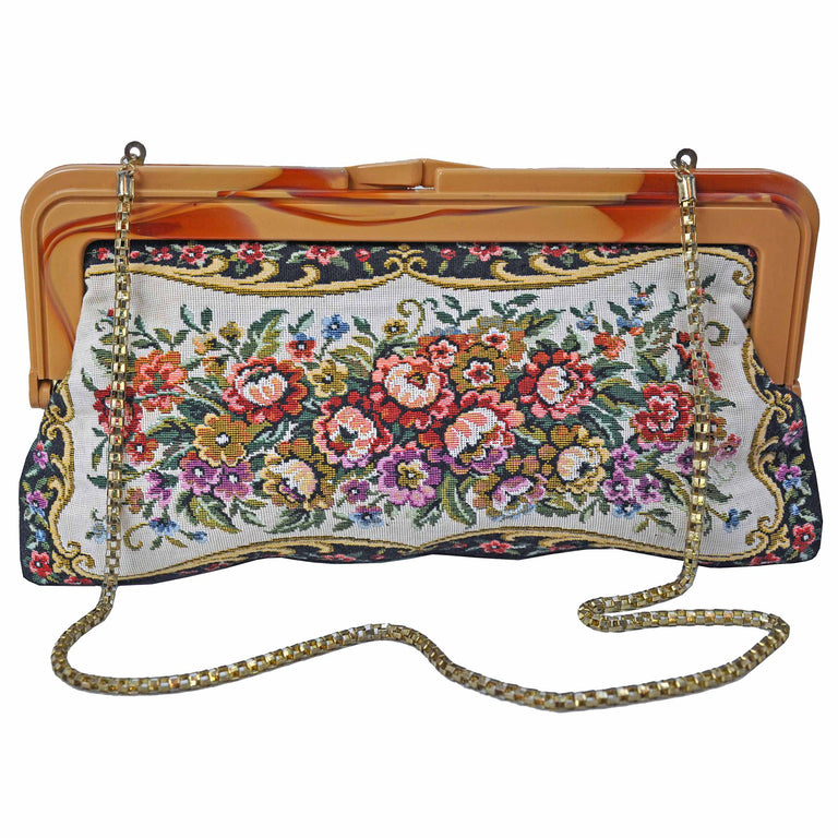 Floral Embroidered Convertible Clutch with Rounded Link Chain Alternate Back