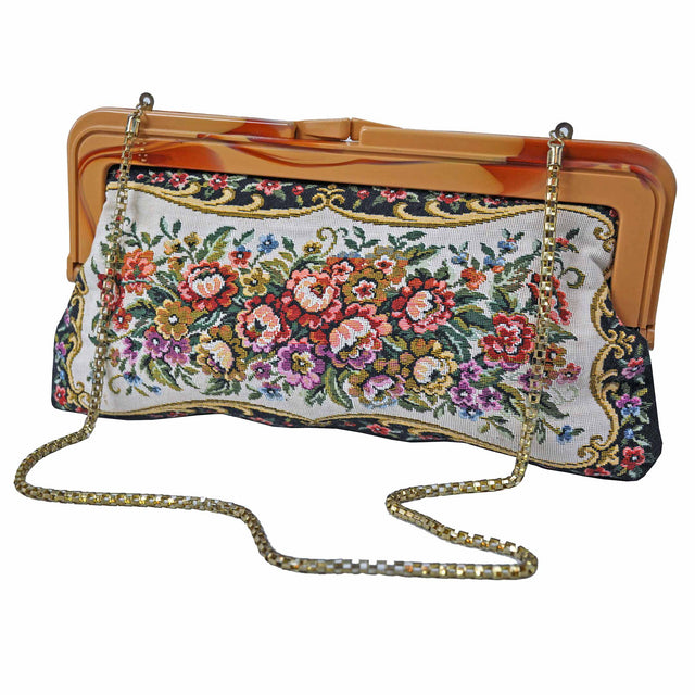 Floral Embroidered Convertible Clutch with Rounded Link Chain Front