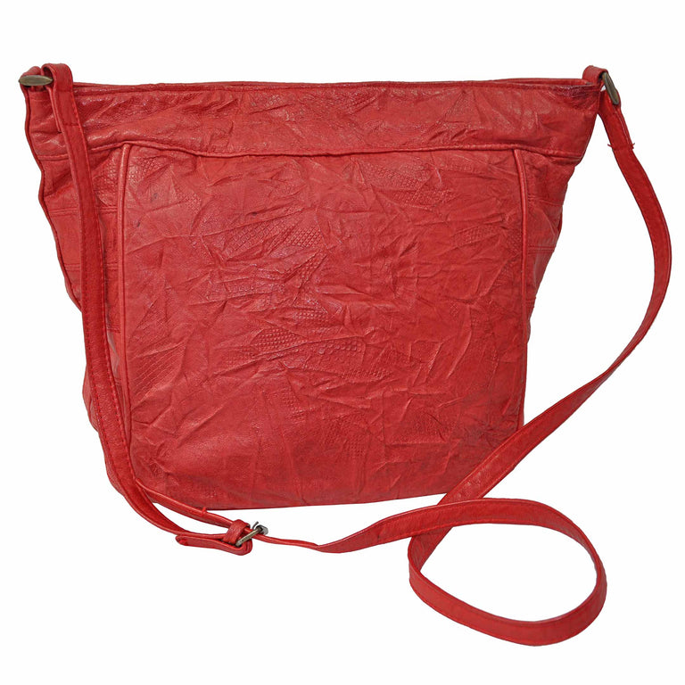Genuine Soft Leather Red Crinkle Shoulder Bag by Serata Back