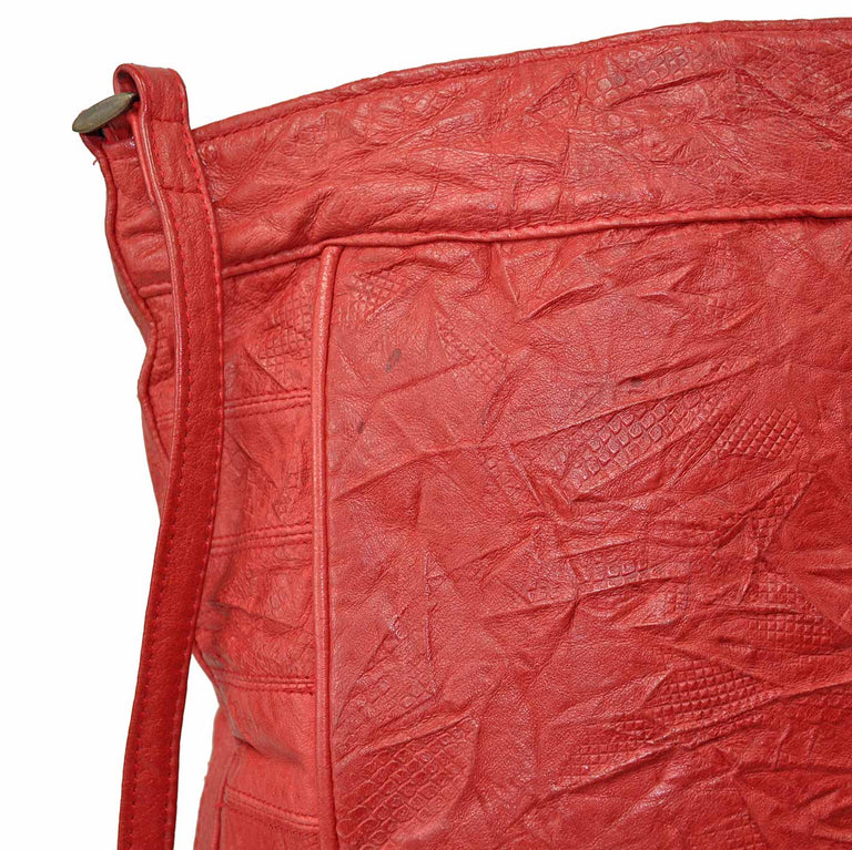 Genuine Soft Leather Red Crinkle Shoulder Bag by Serata Damage Detail