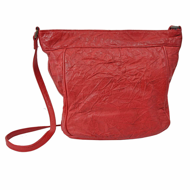 Genuine Soft Leather Red Crinkle Shoulder Bag by Serata Front