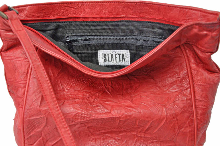 Genuine Soft Leather Red Crinkle Shoulder Bag by Serata Open Top