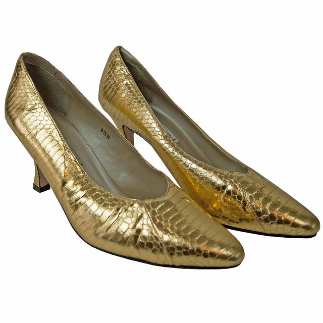 Vintage Gold Snake Skin Printed Leather Heels by Stefani - Women's 8 1/2B
