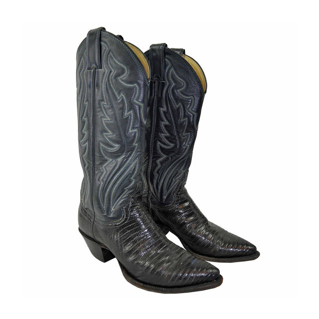 Vintage Grey Leather Embroidered Cowboy Boots with Black Snakeskin by Justin - Women's 5 1/2 B