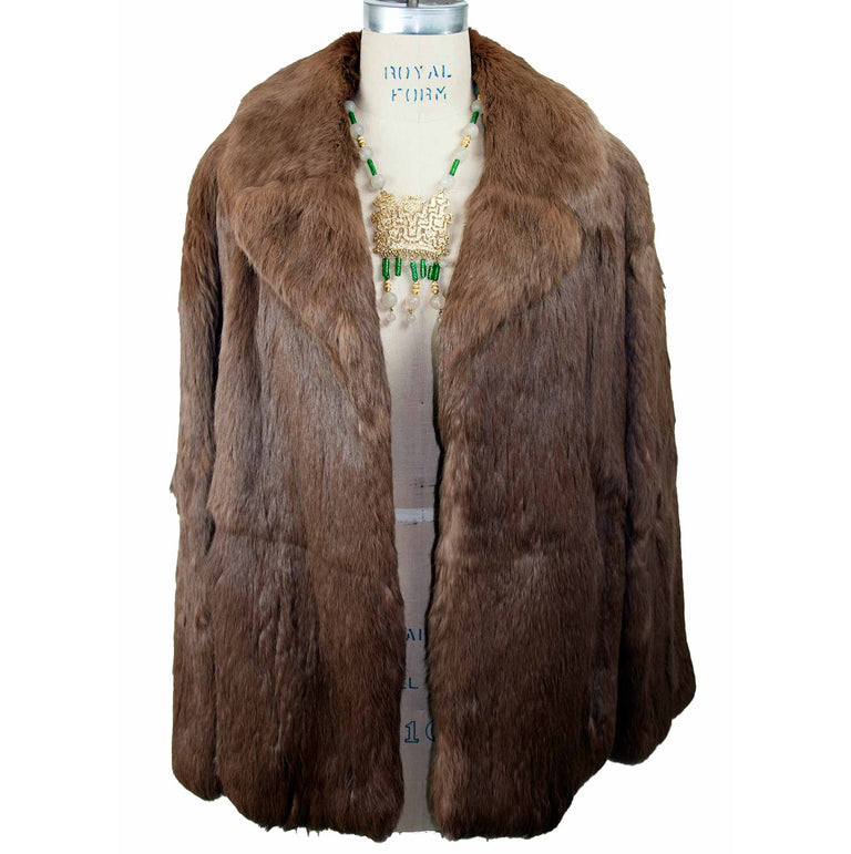 Vintage Brown Real Fur Coat with Hook Closure - Women's L - 70s/80s