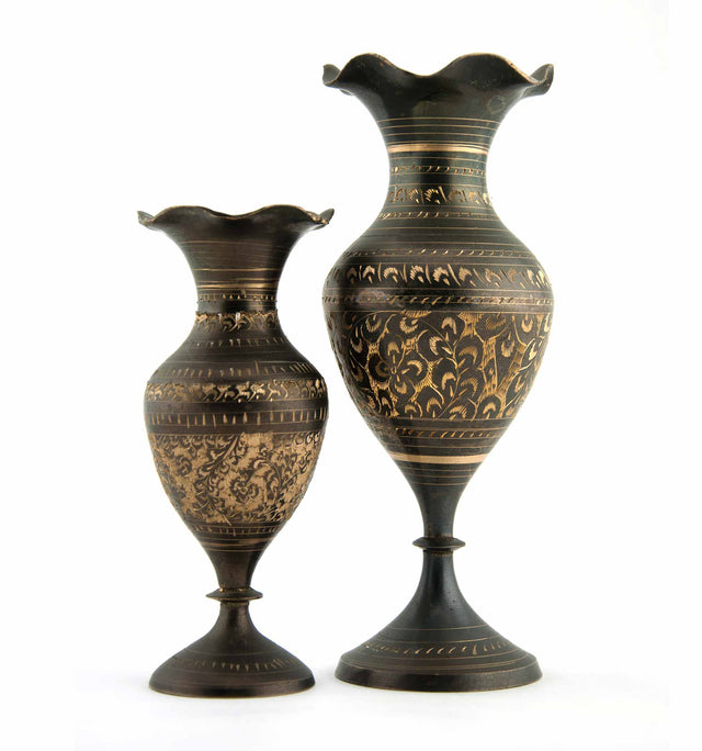 Vintage 2 Piece Set of Indian Etched Metal Vases in Charcoal Grey