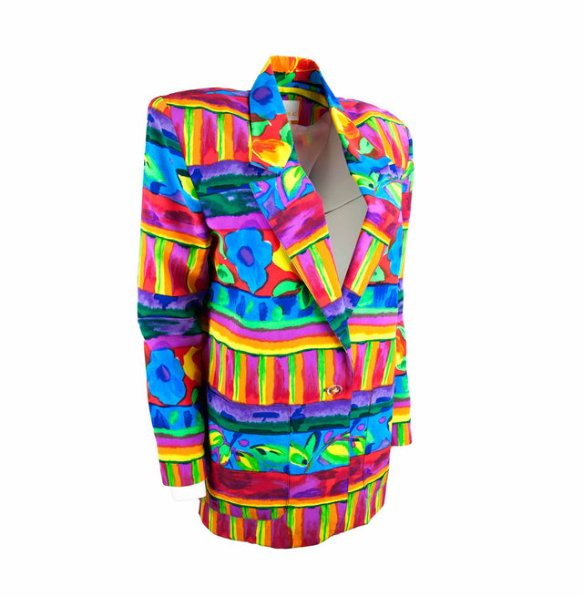Vintage 80's Bright and Bold Oversized Blazer with Pockets by Jordana - Women's M/L