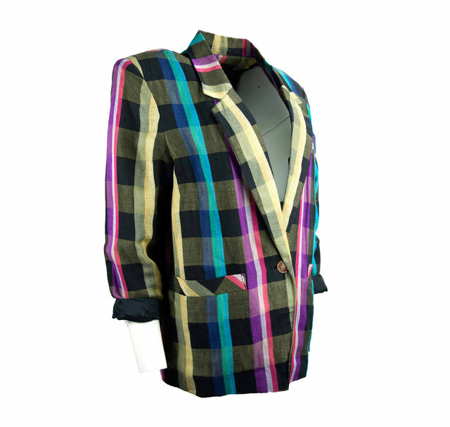 Vintage 80's Colorful and Bold Plaid Oversized Blazer with pockets - Women's M