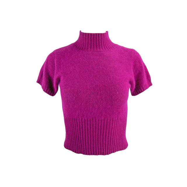 Vintage Angora and Lambswool Soft Short Sleeve High Neck Magenta Sweater by Creatore - Women's S