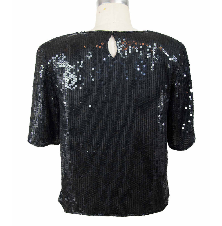 Vintage 100% Silk Black Sequined Short Sleeve Top by New Trends - 70's/80's