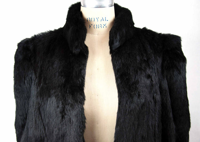 Vintage Custom Black Fur Coat with 3 Hook Closure - Women's M - 80's