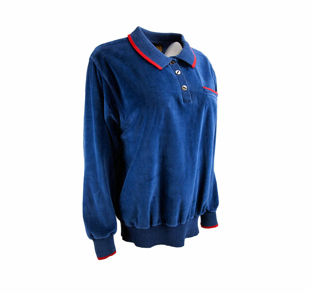 Vintage Blue Velour Track Style Polo with Red Trim by Lizsport - Women's M