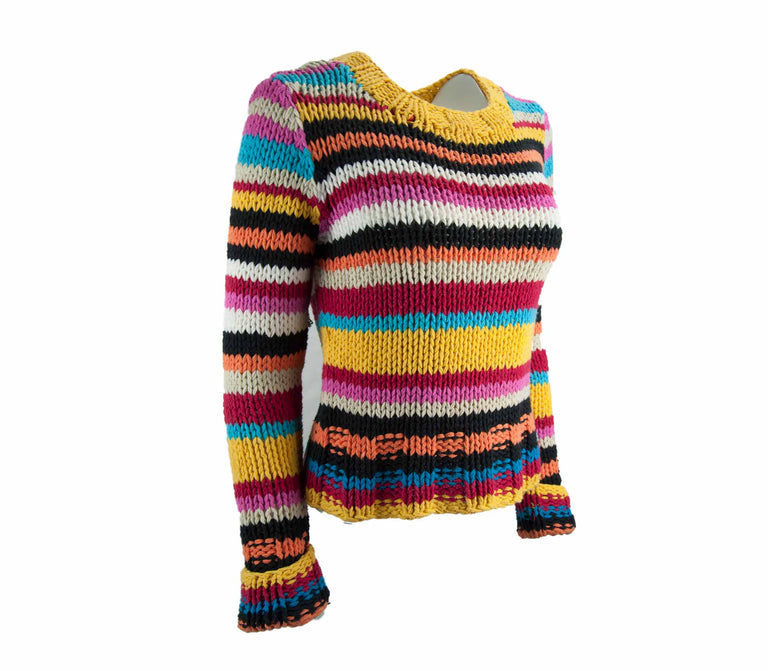 Vintage Bright and Bold Rainbow Striped Chunky Knit Sweater by Casual Corner - Women's M