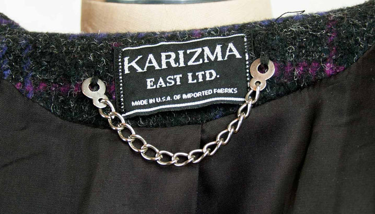 Vintage Charcoal Black Box Shoulder and Pleated Sleeve Plaid Coat by Karizma East Ltd. - Women's 8