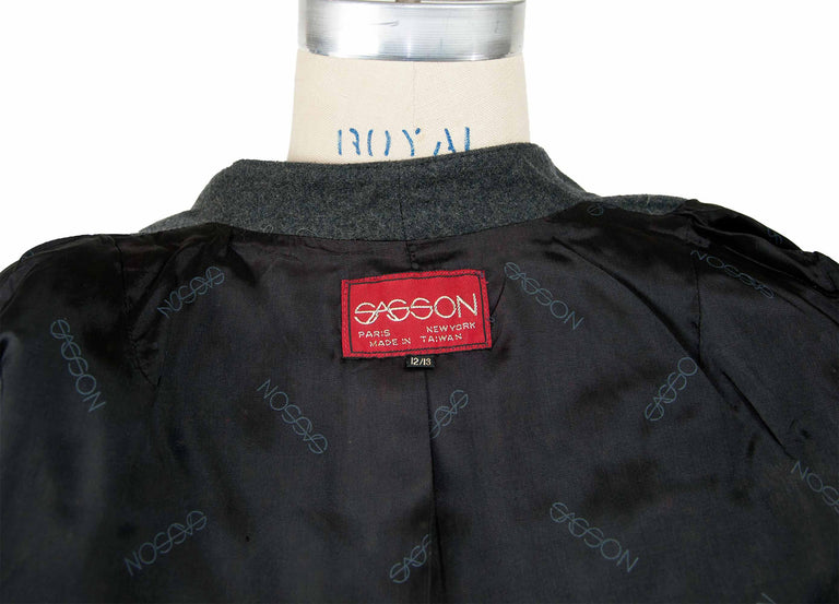 Vintage Charcoal Grey Fit and Flare Business Blazer by Sasson - Women's 12/13