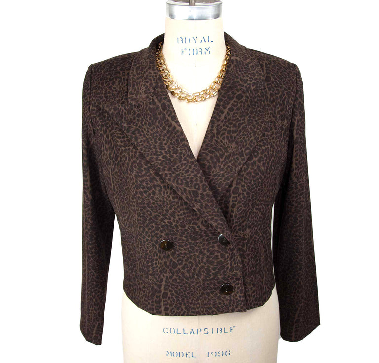 Vintage Double breasted Deep Leopard Blazer by Positive Attitude - Women's 8P