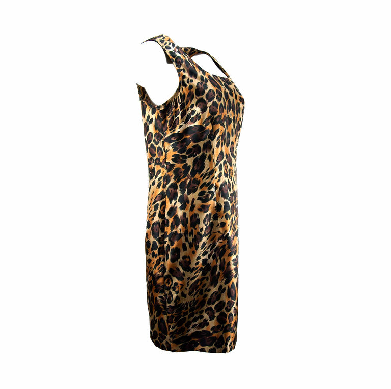 Vintage Leopard Fitted Dress with Princess Darts by Giorgio Fiorlini - Women's L