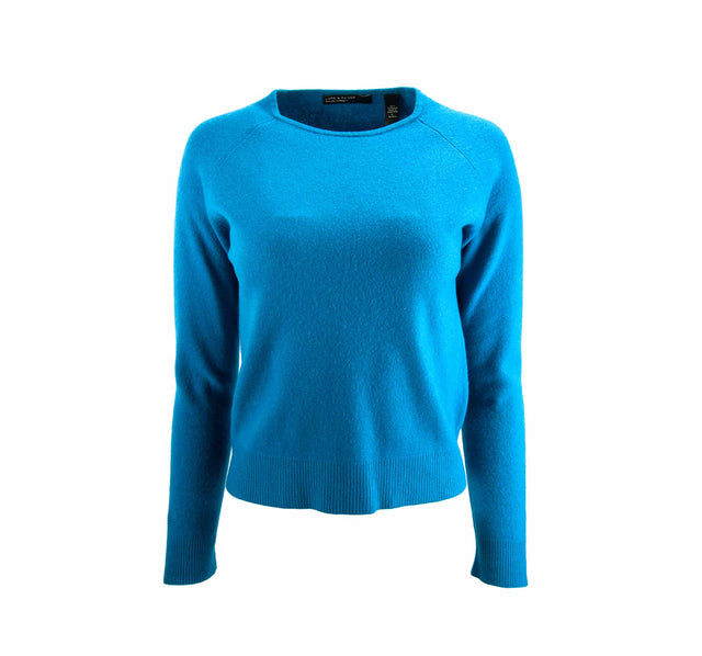 Vintage Lord & Taylor Teal Blue Two-Ply Cashmere Sweater - Women's L