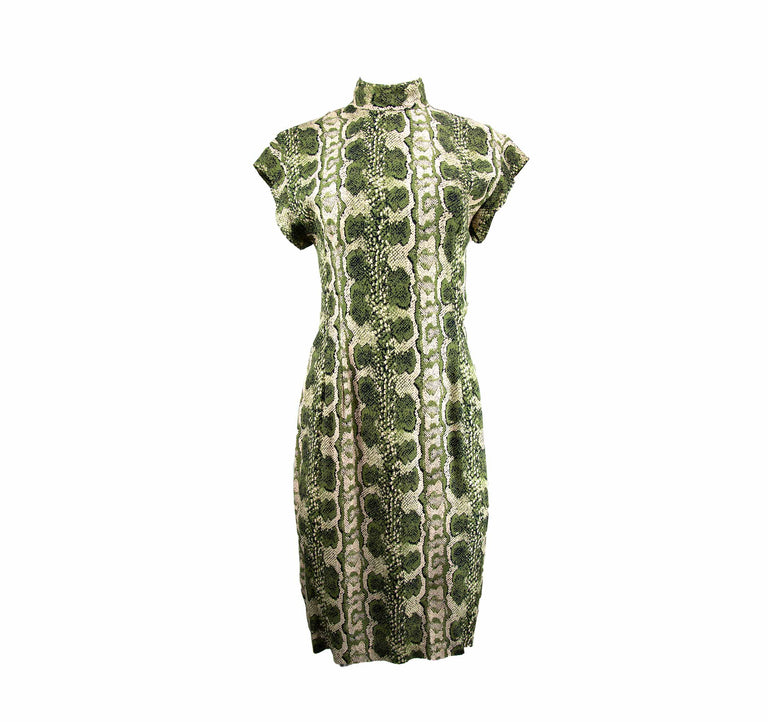 Vintage Olive Green Snake Print Sexy Keyhole Back Dress by Paris Blues - Women's S