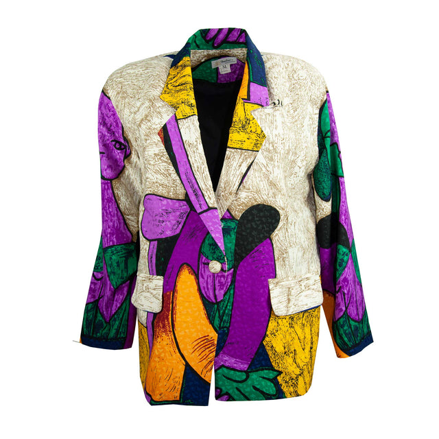 "Vintage 80's Oversized Colorful ""Picasso"" Print Blazer with Pockets by Metro - Women's L"