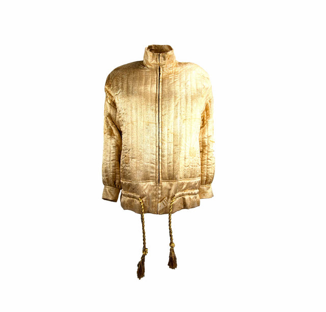 Vintage Oversized Quilted Jacket with Gold Brading Linda Allard for Ellen Tracy - Women's P/XXL